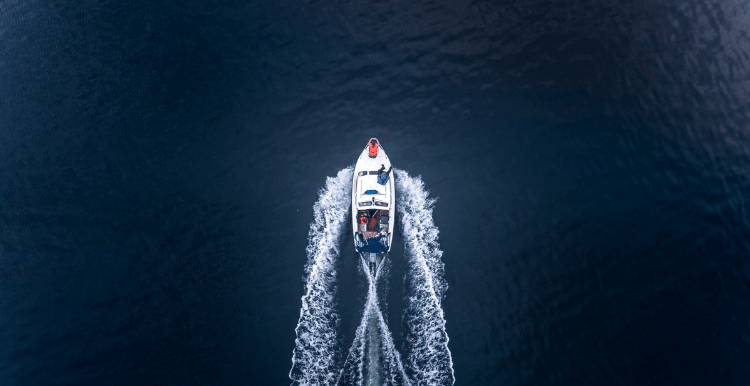 Arial view of a boat and its wake